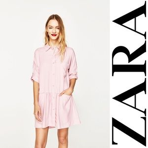 NWT Zara pink chambray drop waist shirt dress S